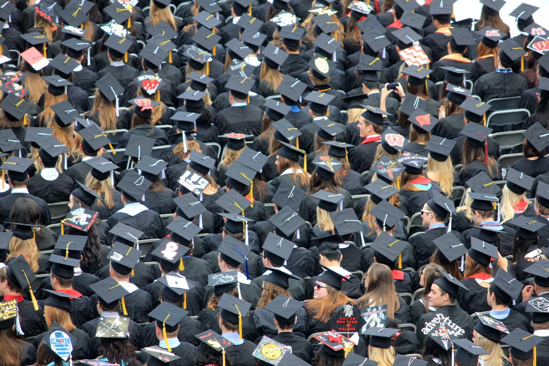 University students at their graduation ceremony.